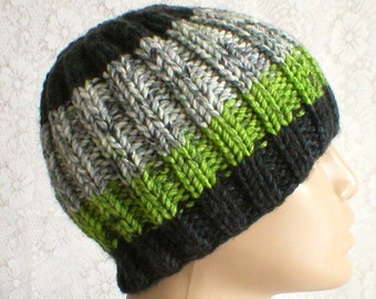 Ribbed beanie hat, green black white grey tweed, striped hat, black green hat, knit toque, ski snowboard, winter beanie hat, mens womens hat