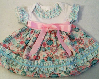 Baby Girls Dress, Pink and Aqua Baby Girls Knit Top Dresss, Baby girls Clothing, Baby Shower Gift, handmade Dress, made in the USA, #168