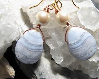 Blue Lace Agate & Pearl Earrings
