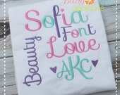 "Sofia Embroidery Font 1"", 1.5"", 2"", 2.5"", 3"", and BX"