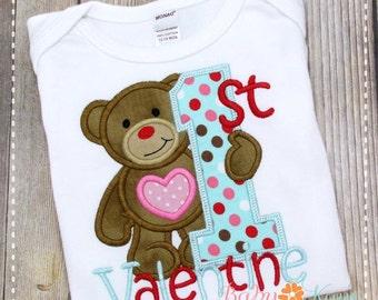 1st Valentine Bear Applique Design 4x4, 5x7, 6x10, 8x8
