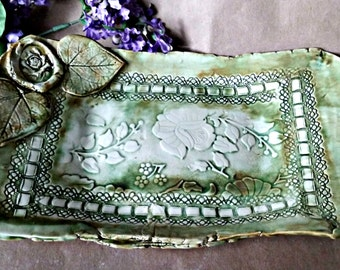 Ceramic Vanity Tray Platter Moss green Dresser Tray Organic Shape