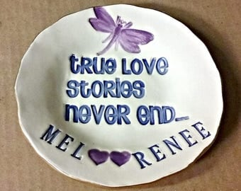 Personalized Engagement Gift Wedding Gift Ceramic Trinket Dish edged in gold True Love Stories...