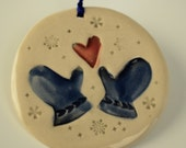 Pair of Mittens Deep Blue and Watermelon Pink Holiday Ornament