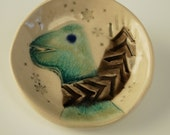 Turquoise Crackle Dinosaur Wee dish