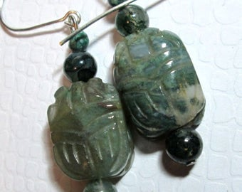 Stone Scarab Earrings
