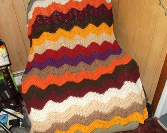Crochet Blanket-Afghan-Chasing Chevrons-Modern-Fall Colors-New Years-Winter Warm-Large Size-Gift-Housewarming-Home Decor-Baby-Ready to Ship