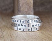 Stackable Ring, Name Ring, Personalized Ring, Mothers Ring, Sterling Silver Ring, Personalized Jewelry, Comfort Fit