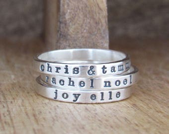 Personalized Ring, Mothers Ring, Sterling Silver Ring, Stacking Ring, Name Ring, Skinny Ring