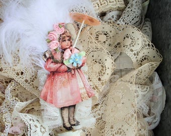 Little Miss Sunday Best*Spring*Little Victorian girl all dressed up with a parasol.