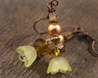 Yellow flowers, gold swarovski crystals, pearls, glass and antique copper handmade earrings