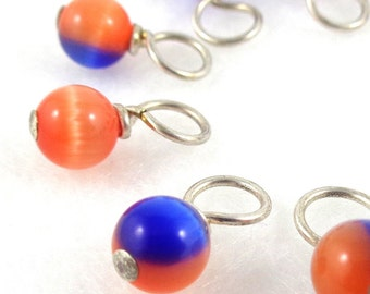 Edmonton Oilers or New York Islander Stitch Markers for Knitting or Crochet (Choose Your Size - Set of 10)