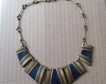 Vintage 1960's 1970's Leather and Brass Necklace, Alexis Kirk style, Vintage Brass and Leather