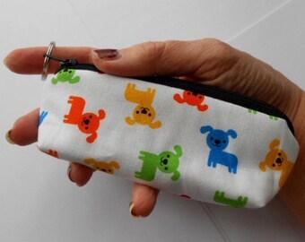 Mini Key Chain Zipper Pouch ECO Friendly Padded Lip Balm Case NEW Mini Pups