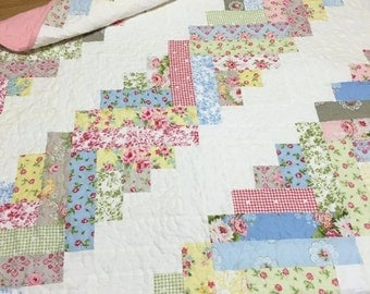 SALE Baby Girl Quilt Log Cabin Scrappy Style OOAK Cottage Nursery Crib Bedding