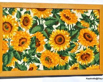 Yellow Sunflower Cork Board Cork Bulletin Board 17x11 Tack Board Cork Pin Board Ochre Frame Corkboard Cork Message Board