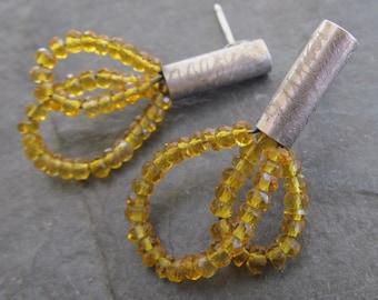 Gemstone Stud Earrings Silver Citrine Post Earring Sterling Silver Yellow gemstone hoop earring Funky Silver Jewelry Rustic Dangle Earrings