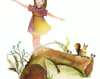 Balance - Watercolor Art Giclee Print Nursery Painting Little Girl Forest Tree Bird Available in Paper and Canvas by Olga Cuttell