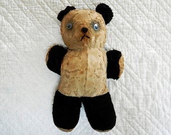 Vintage Teddy Bear, Shabby Tattered, 1950's , Collectible Child's Toy, Primitive Nursery Decor, Stuffed Animal, Mid Century, Black White