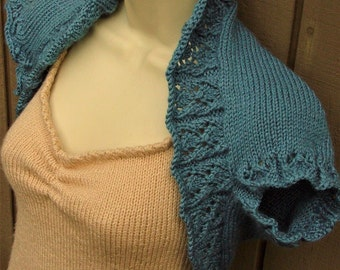 Dusty Blue Knit Shrug, size Small   blue bolero shrug vest sweater knitted bridal wedding prom evening cover-up formal