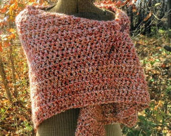 Rustic Shawl Rust and White Warm Crochet Shawl Wrap