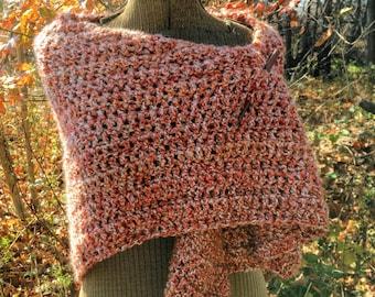 Rustic Shawl Rust and White Warm Crochet Shawl Wrap