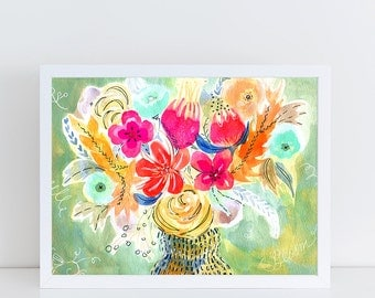 Cheerful blooms A4 print 21 x 30 cm from my watercolor illustration