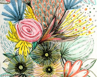 Sketchy Floral  A4 print 21 x 30 cm from my mixed media illustration