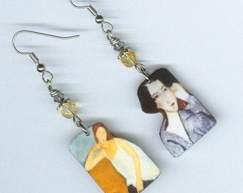 Fine Art Asymmetrical earrings  - Modigliani Italian painter - artist art collector student gift
