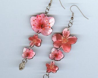 Cherry Blossom Sakura earrings - spring pink flowers-  Asymmetrical mismatched earring Designs by Annette