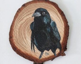 Raven No. 1 - Original Acrylic Art, Painted on Wood Slice