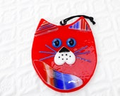 Fused Glass Cat Suncatcher, Red, White and Blue Fused Glass Cat, Cubby Cat, Kitten Suncatcher, Patriotic Cat Suncatcher, 4th of July