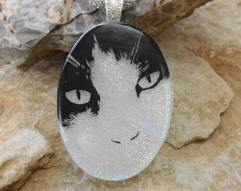 Oval Fused Glass Pendant, Cat Lover Jewelry, Cat Lover Pendant,  Fused Glass Dichroic Pendant, Dichroic Decal Pendant, Glass Cat Necklace