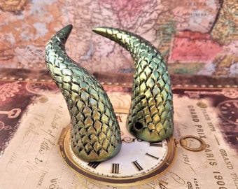 Beetle Green Dragonscale Costume Horns - Made to Order