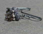 Spurrite Earrings Smoky Quartz Purple, Brown Gemstones Oxidized Sterling Silver Earrings Gift for Her