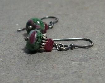 Ruby Zoisite Earrings Ruby Gemstones Oxidized Sterling Silver July Birthstone Earrings Gift for Wife