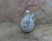Mini Cruet Pourer - Handmade Stoneware Ceramic Pottery - White - Floral - 12 ounce