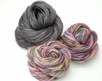 Cloudy Rainbow, Hand Painted, Hand Dyed, Sock, Yarn, Gray, Rainbow