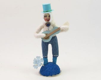 READY TO SHIP Vintage Inspired Spun Cotton Guitarist Figure Ooak
