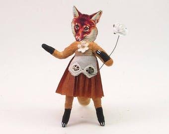 Spun Cotton Vintage Inspired Fox Lady Figure/Ornament
