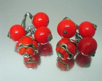 Vintage Vogue Red Glass Bead Earrings