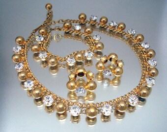 Rhinestone Necklace Bracelet Earrings Vintage Unused