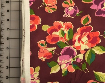 Amy Butler Bright Heart Natural Beauty Carmel Burgandy Floral Cotton Fabric from shereesalchemy