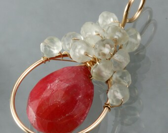 Ruby & Prehnite Wire Wrapped Pendant