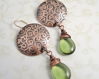 Etched Copper Earrings - Green Glass Beads -  Curlicue Pattern