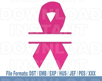 Breast Cancer Awareness Pink Ribbon Machine Embroidery Design Download,Filled Stitch,4X4 Hoop,PES File,JEF File,hus File,dst File,exp File