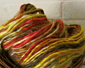Handspun Wool Yarn - Wensleydale Wool - Single Ply - Thick and Thin - Yellow, Red, Brown, Green - Scarecrow