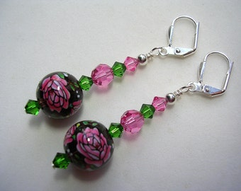 Hand Painted Glass Rose Earrings Rose Pink Swarovski Crystal Leverback Hooks Wire Wrapped Silver Dangle Earrings Gifts under 5 Flowers