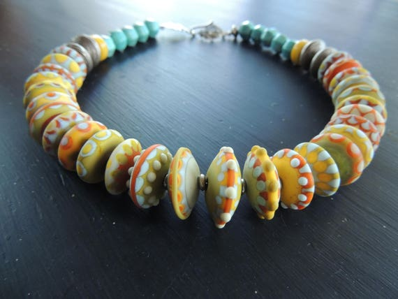 Follow the Sun Artisan Lampwork and Turquoise Necklace Sterling Silver