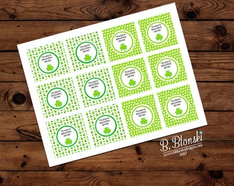 St. Patrick's Day Cupcake toppers or favor tags - instant download